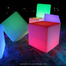2017 Factory bar stool illuminated plastic RGB color mood led sitting lighting cube