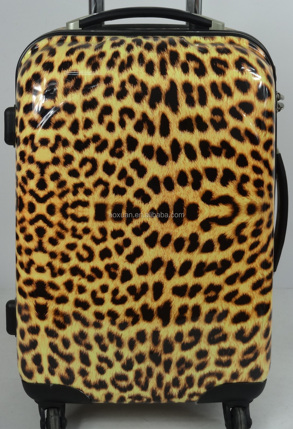 Alibaba printed Leopard grain abs/PC trolley luggage with good quality