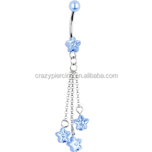 Light Blue Faux Pearl Flower Chain Dangle Navel Jewelry Belly Ring Piercing