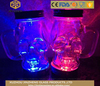 food grade 14oz Flashing LED skull shape bottles bar