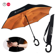 High Quality Windproof Reverse Double Layer upside down inverted umbrella with C-shaped Handle