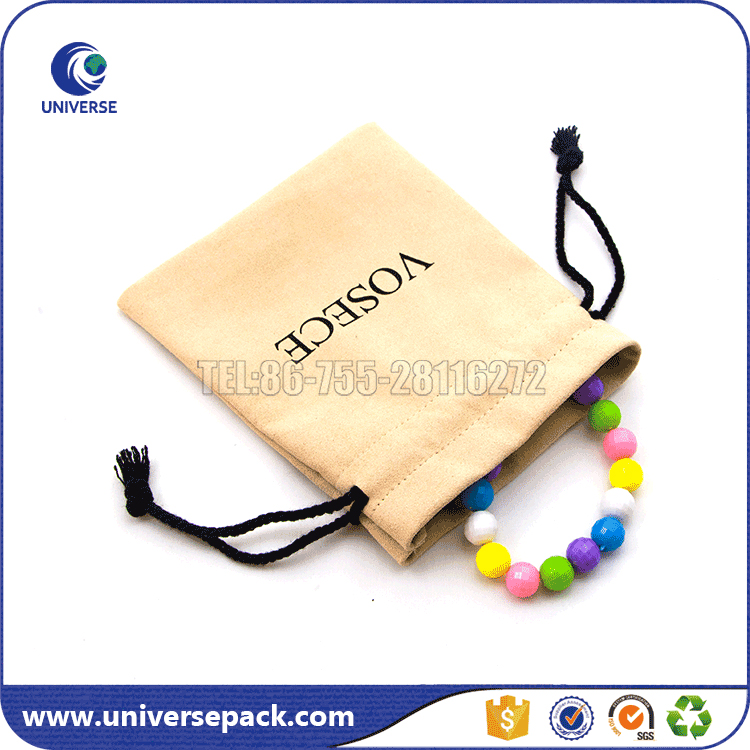 Custom printing suede bags with drawstring for bracelet