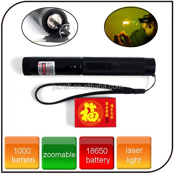 1000 lumens portable with key switch and lighting a match led star cap beam green laser flashlight