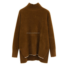 Design Of Hand Made Sweaters Imitated Mink Wool Half-Collar Pure Colour Sweater