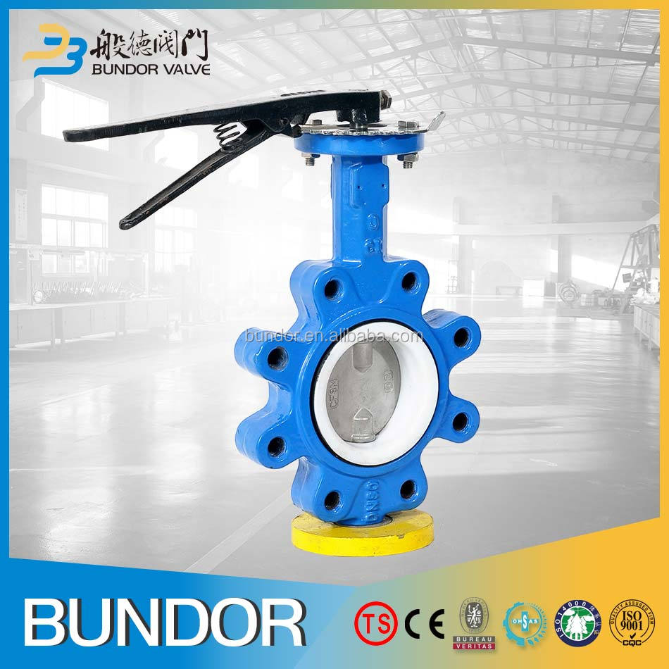 China Suppliers Handle Lug Type Full PTFE Seat 24 Inch Butterfly Valve Weight