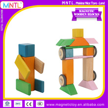 MNTL-28 Pieces Wood Material Wooden Toy Stacking Geometric Shape Blocks,Kindergarten Wood Building Blocks With Various Colors