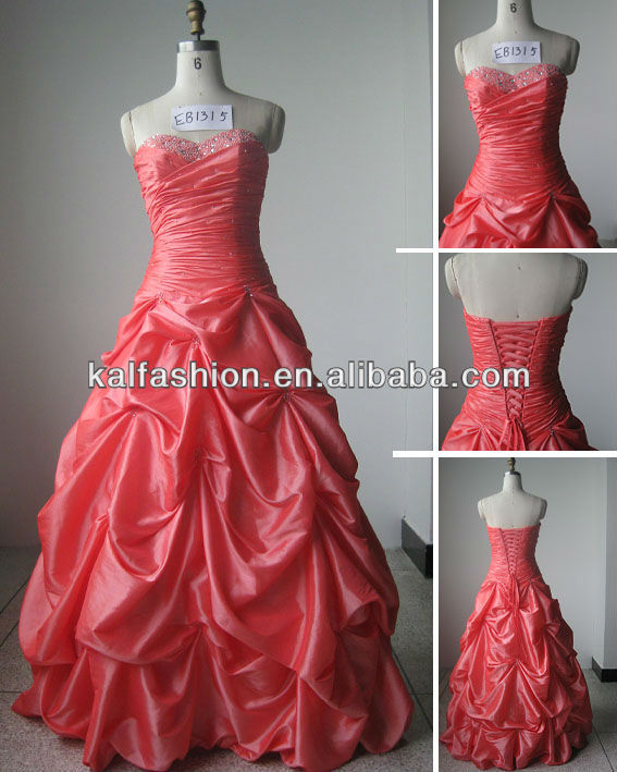EB1315 Sweetheart with bead and pleated wedding gown