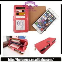 ZY-05 Leather Wallet zipper bag phone case for iPhone 6 4.7 inch with removable Separable phone case