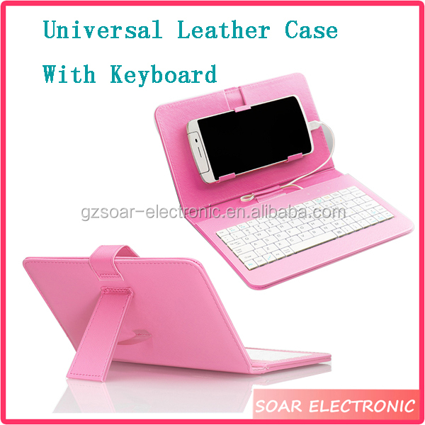 High Quality 5 Inch 6 Inch Leather Universal Tablet Case With Keyboard, Smart Stand Universal Leather Case
