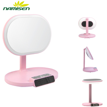 Led lighted girls makeup mirror with adjustable brightness and storage base