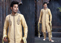 Beige Art Dupion Silk Readymade Sherwani with Churidar - 379