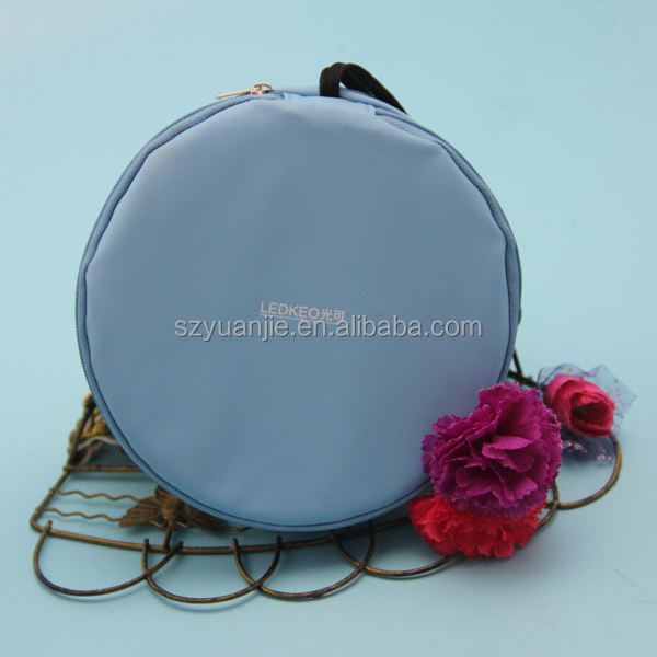 Cosmetic Mirror Type and Round Shape leather lipstick case