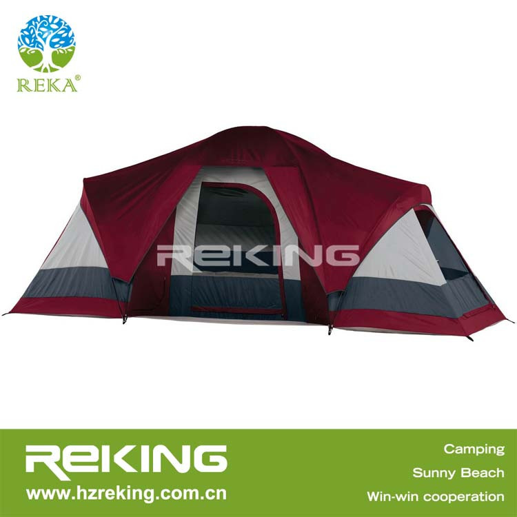 red folding family tent