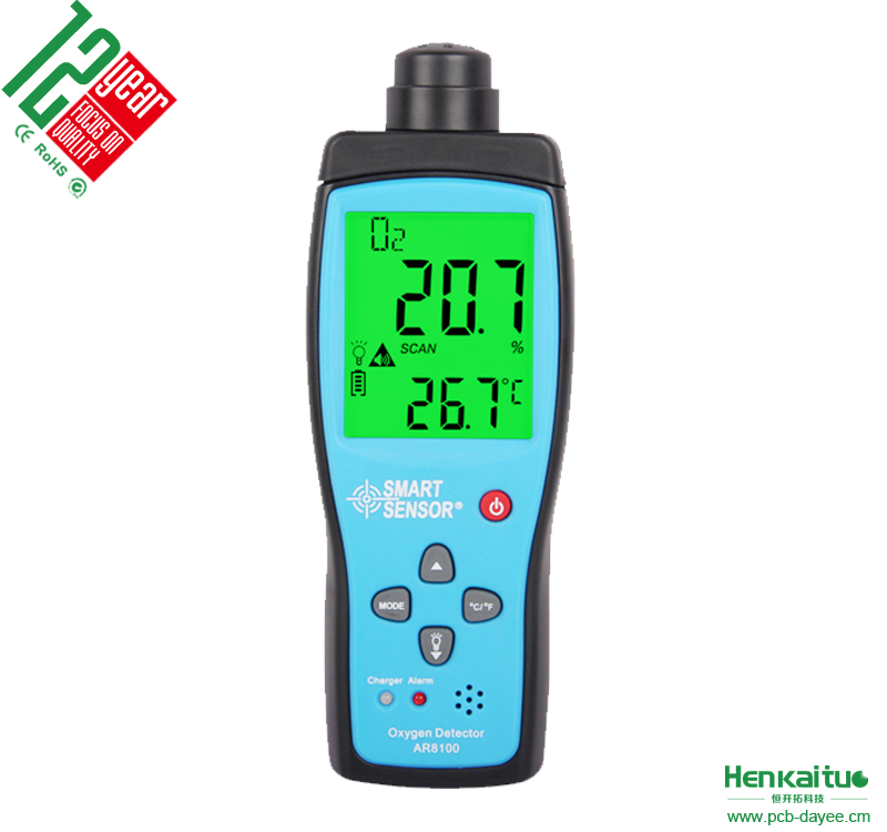 AR8100 Smart Sensor <strong>Portable</strong> Precision Air Quality Oxygen Concentration Detecting Tester with Alarm