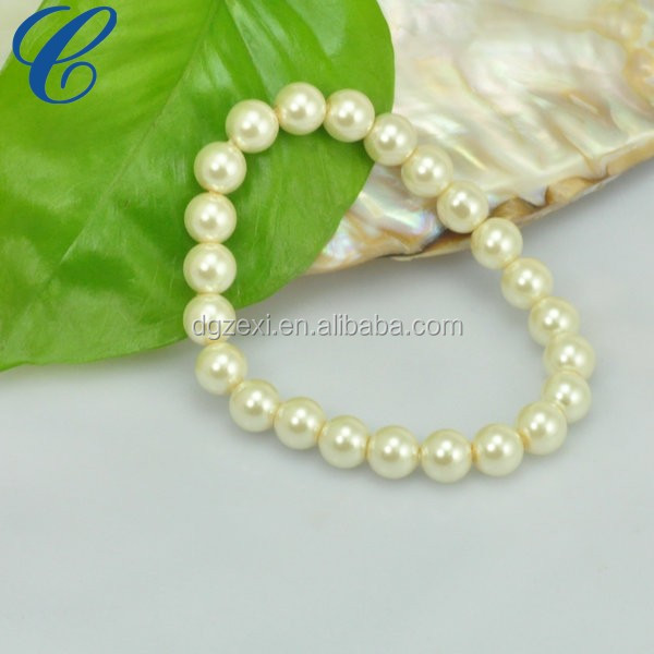 CZXB1618 White Round Beads Bracelet Chirstmas Ornament 7.5 Inch