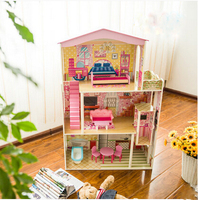 2016 Children's prefabricated dollhouse creative toy house large-scale simulation model wooden doll house play house