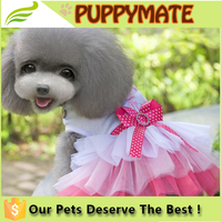 2016 Wholesale Fashion Puppy Dog Princess Dress Dog Cherry Lace Skirt Pet Dog Tutu Dress
