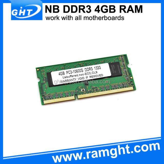 Shenzhen GHT full compatible laptop ddr3 4gb 1333mhz ram memory non ecc module