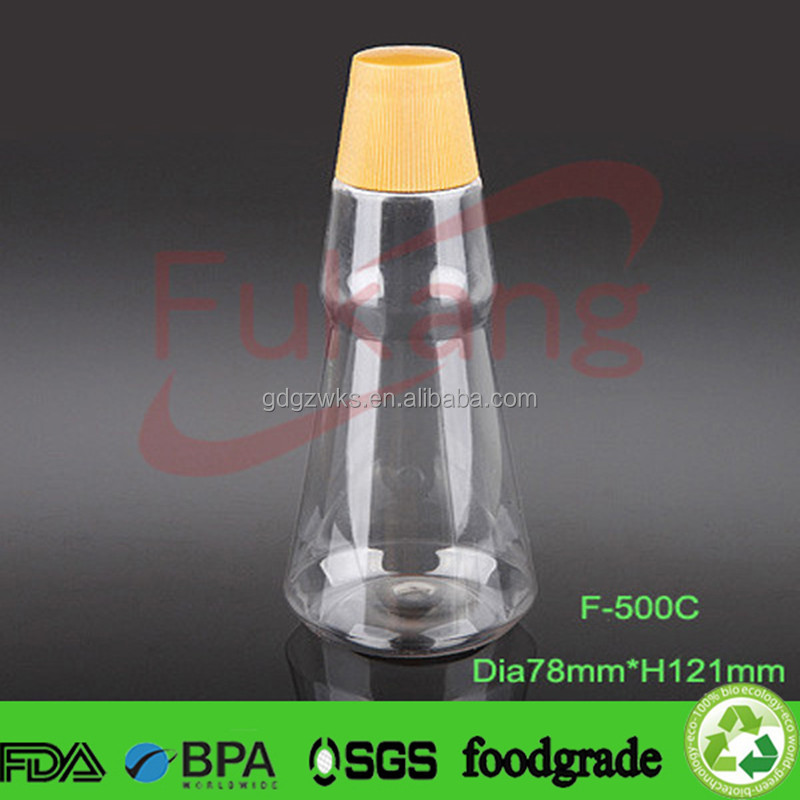 500cc clear cooking juice plastic bottle, airless liquid storage container, bbq oil bottle manufacturer China