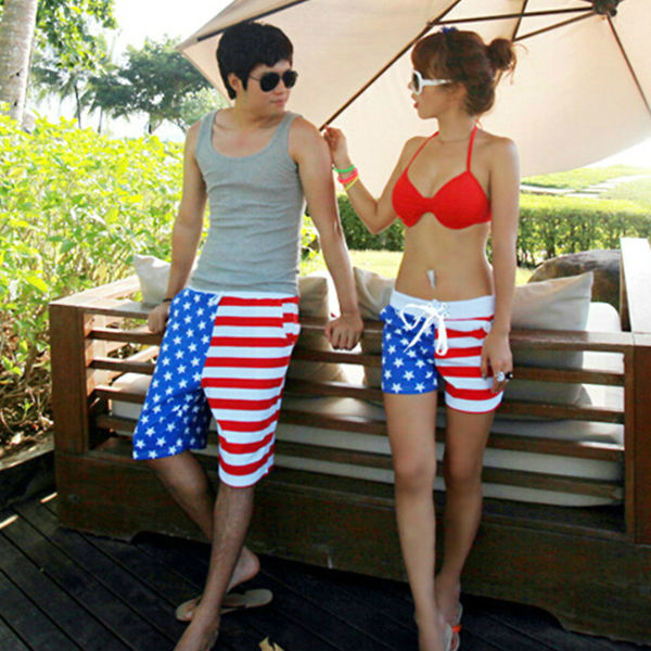 M40043D 2014 cheap fashion couples flag beach shorts