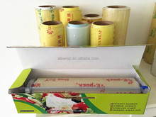 plastic film /transparent waterproof food cling wrap with color box OEM