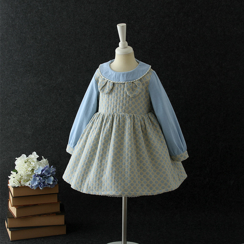 2018 baby girls long sleeve one-piece dress children frocks designs for winter Cute Autumn casual dresses