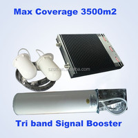 Tri band signal boster 900/1800/2100mhz gsm mobile phone signal booster made in China, signal booster repeater for 2G 3G 4G