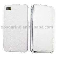Fashion genuine flip leather case pouch for iphone 4 4G