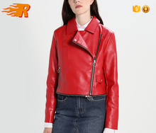 OEM Custom Woman PU Short Length Zipper Red Leather Motorcycle Jacket
