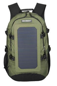 ECEEN Factory price nylon material 45L capacity black and army green colors with 6.5W6V Sunpower solar panel solar student bag