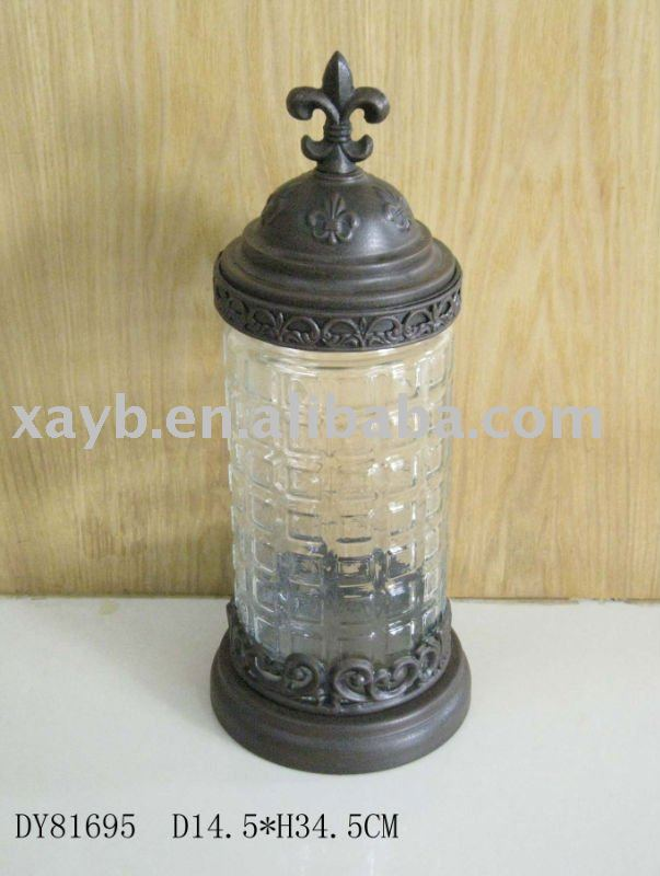 glass canister with metal lid
