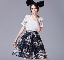 D70518H 2015 Summer Fashion new dress short sleeved two piece suit wholesale