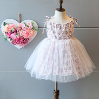 Sweet Floral Pattern Condole Belt Type Children Frocks Designs, Girls Veiled Dresses