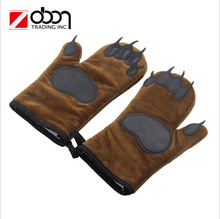 funny bear hands design Microwave BBQ Oven Glove Cotton Baking Pot Mitts Cooking Thick Heat Resistant hand Glove for cooking