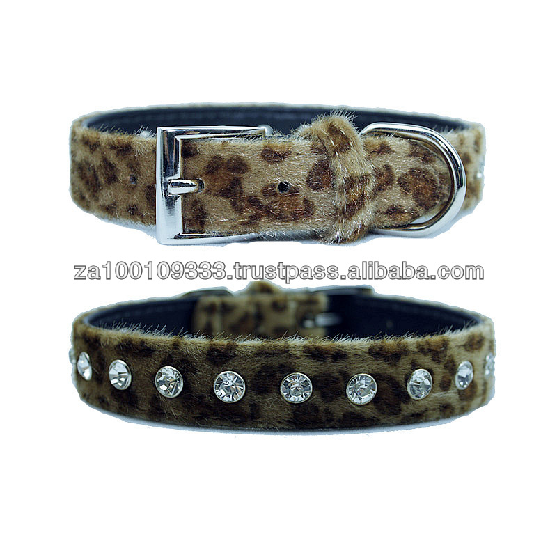 Faux Leopard dog Collar - low moq