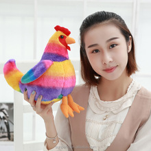 Wholesale New arrived plush rainbow chicken toys plush animal for new year mascot