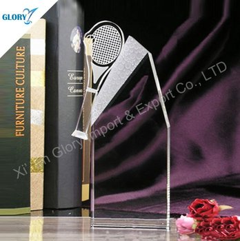 Sport Ball Tennis Crystal Trophy