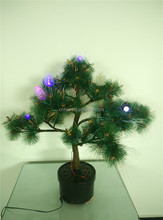 Fake Pine Tree Artifical Fiber Optic Christmas Tree, Indoor Table Clear Cone Lights Green PET Christmas Tree