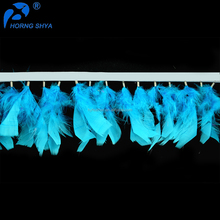 Horng Shya Leading Feather Handcrafted Factory HS-66 Turkey Flats Fringe For Party Decoration Wholesale Feather Trim