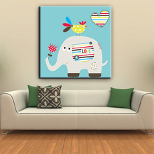 High quality welcomed elephant cartoon picture house decor kids canvas painting