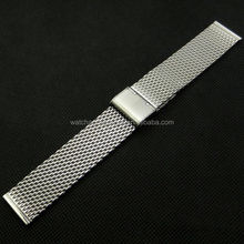 Wholesale Silver stainless steel mesh watch band 18mm 20mm 22mm 24mm 26mm metal watch strap