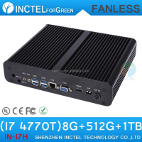 Fanless Mini PC Computer i7 with Intel Quad Core i7 4770T 2.5Ghz CPU VGA 8G RAM 512G SSD 1TB HDD
