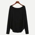HL24266 Ecoach newest design drop shoulder super soft 95%cotton 5%spandex women long sleeve plain black T-shirt