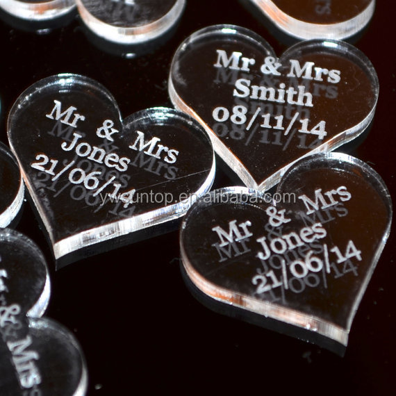 Personalised Clear Acrylic Heart Wedding Table Decorations Wholesale