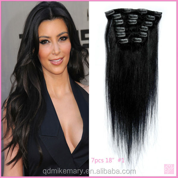 Indian Remy Hair Light Yaki Grey Color Double Weft Clip In Human Hair Extensions
