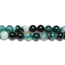 Cheap Polished Striped Green Agate Round Beads Wholesale