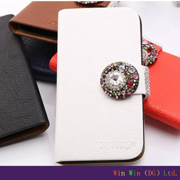 Stud buckle white pu phone case nontoxic pc+pu hot selling mobile phone case for samsung S3