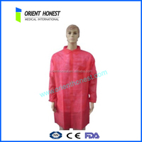 Cheap polypropylene disposable adult red smock