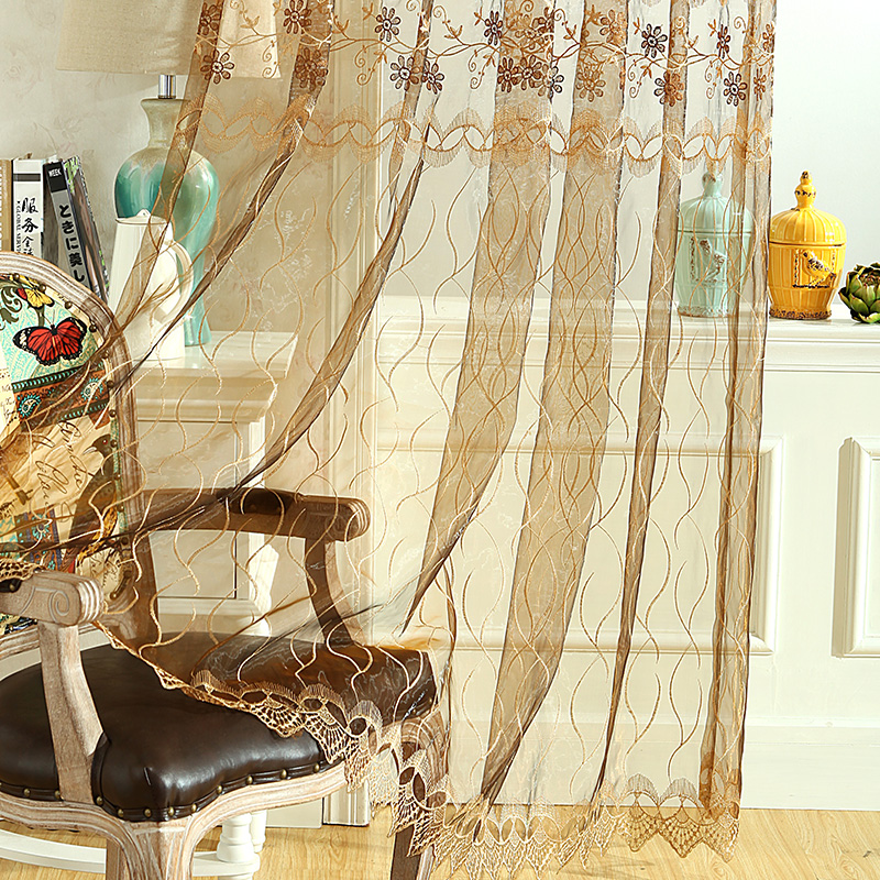 100% polyester stock sheer fabric embroidery curtain/flower embroidered organza curtain drapery sheer panel drapes