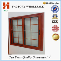 2 tracks sliding wooden color aluminium sliding window channel